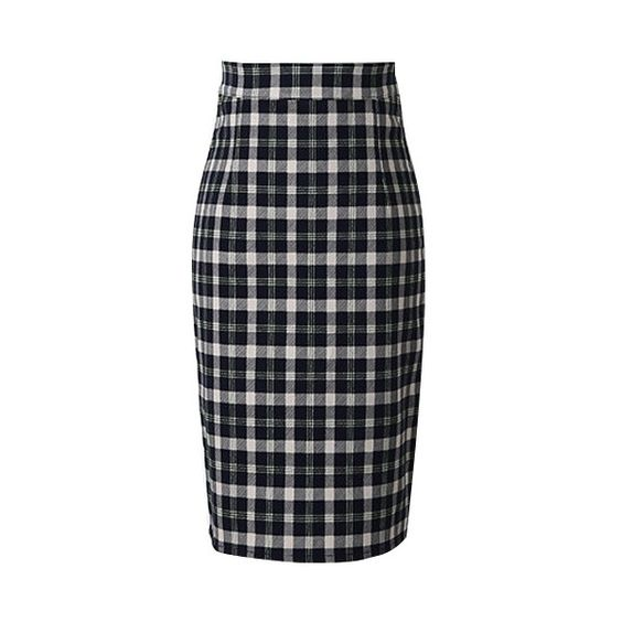 Classic Plaid Zipper Back Pencil Skirt (¥1,695) ❤ liked on Polyvore featuring skirts, bhalo, blue skirt, tartan pencil skirt, pencil skirt, back zipper skirt and plaid skirt