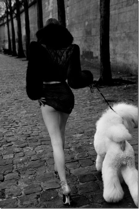A woman & her poodle