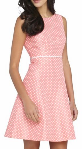 Cute dotted dress in coral