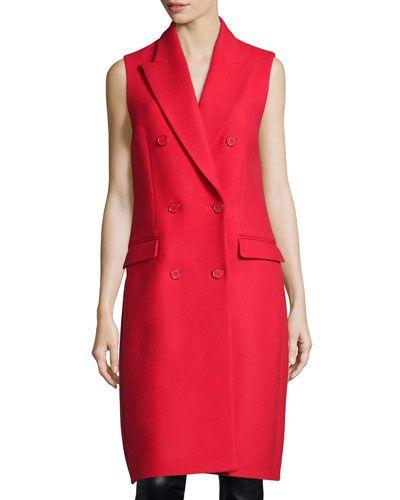 MICHAEL KORS Melton Double-Breasted Sleeveless Coat, Scarlet. #michaelkors #cloth #