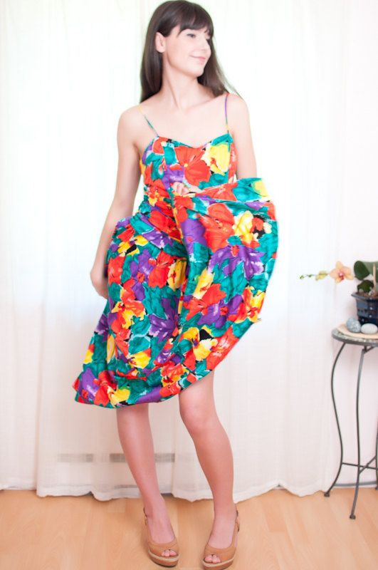 Vintage 1980s Dress  Bright Floral Cotton Sundress  S by DeLaBelle, $35.00