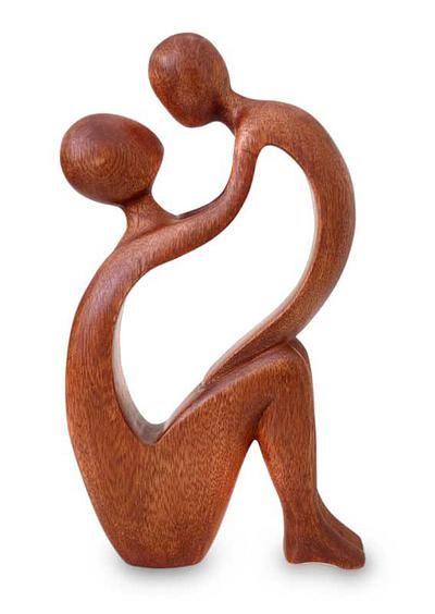 Wood statuette, 'I Adore You' by NOVICA