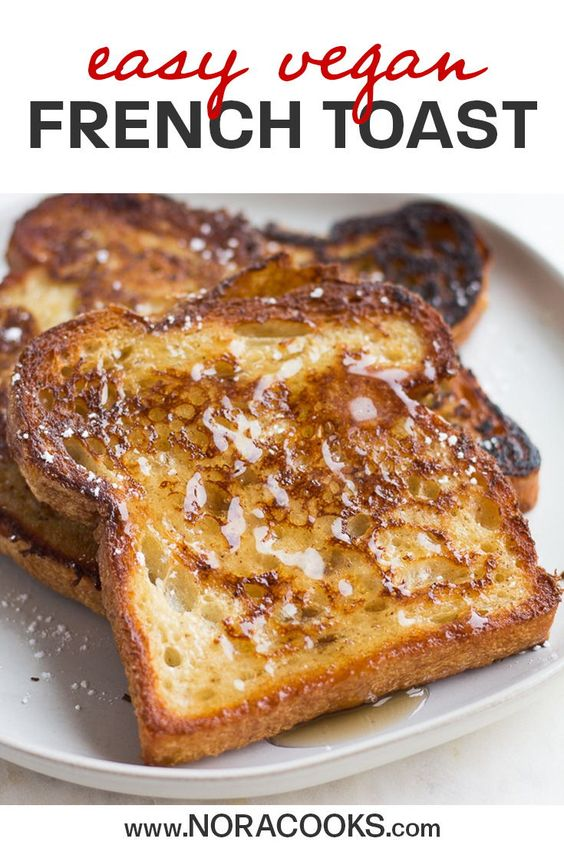 EASY Vegan French Toast, made with everyday ingredients. You won't miss the eggs, my secret ingredient works perfectly! #vegan #plantbased