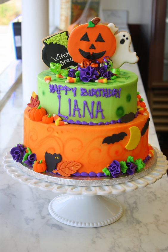 Scary but cute halloween birthday cake pete 39 s sweets Cute easy halloween cakes