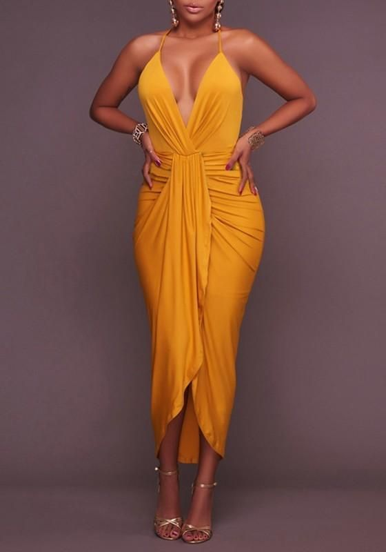 Yellow Pleated Irregular Backless Cross Back Halter Neck High Low Prom Party Maxi Dress Cheap Maxi Dresses Classy Dress Dresses