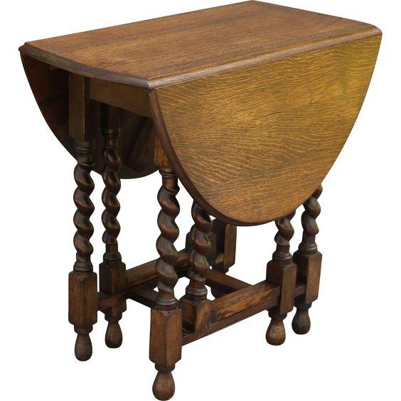 Antique English Oak Twist Drop Leaf Table