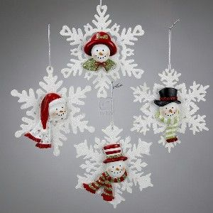 """4 5"""" RESIN SNOWMAN ON WOODEN SNOWFLAKE GLITTERED ORNAMENT, SET OF 4 ASSORTED"""