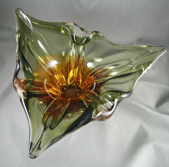 Vintage Art Glass Amber Green Chalet Murano Style Freeform Mid Century Retro SOLD