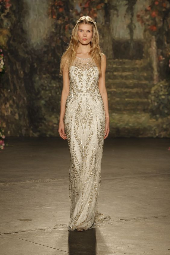 """Hermia"" column gown with chevron-pattern embroidery by Jenny Packham Spring 2016 Bridal Collection."