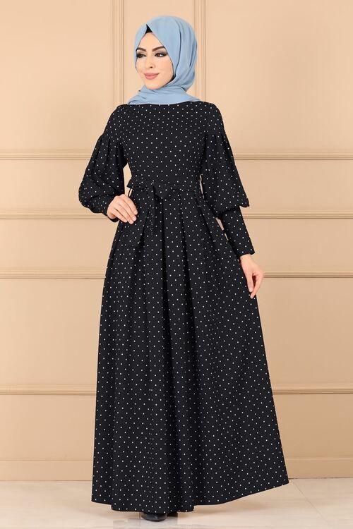 Modaselvim Elbise Puantiyeli Pileli Elbise 8962w153 Siyah Elbise Islami Giyim Giyim