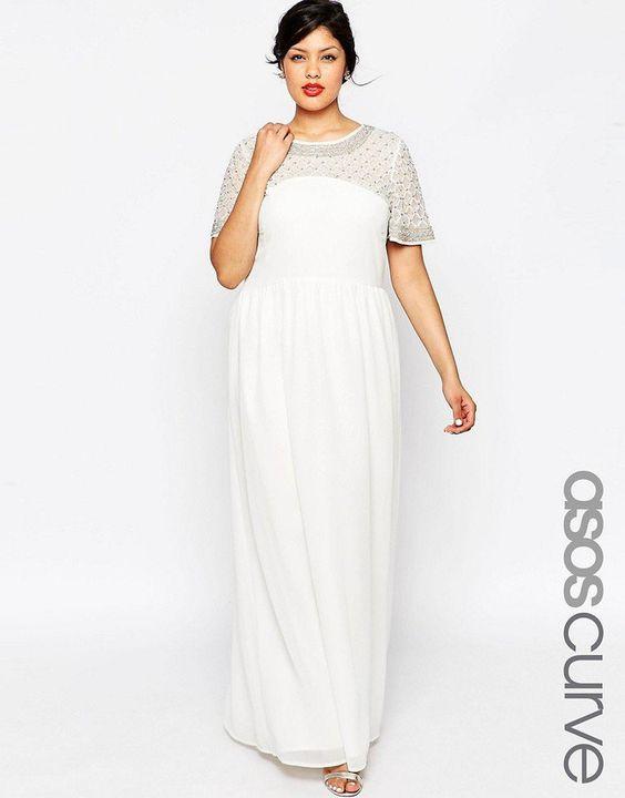 Pin for Later: 90 Robes Pour un Mariage Civil Stylé et Romantique  Asos Maxi robe motif croisillons à manches évasées - Blanc (132€)