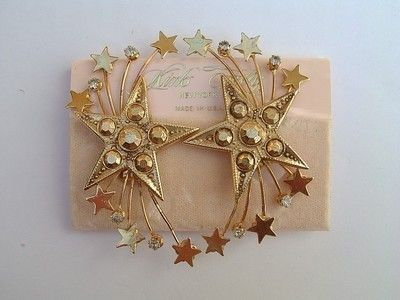 "KIRKS FOLLY Earrings Rhinestone Stars - 2 3/4"" Clip on - Original Card (04/14/2013)"