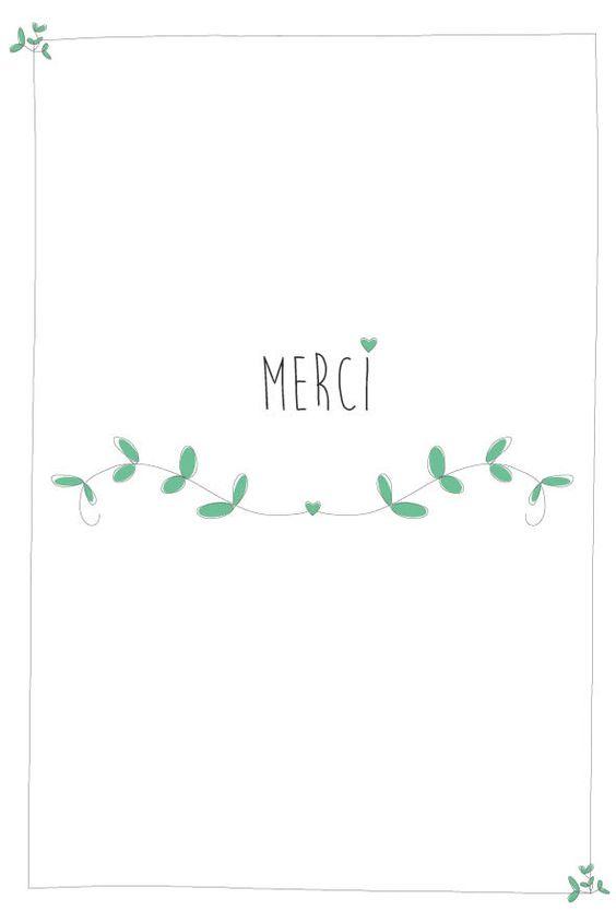 """Carte """"Merci"""" - avec de petites fleurs roses /vertes : Cartes par suite-creative-babies:"""