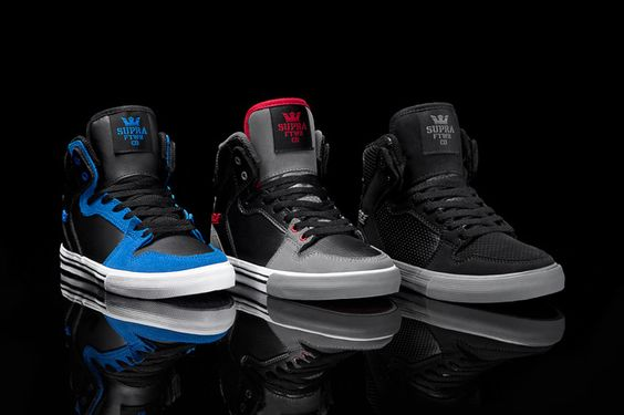 The Vaider is one of the most popular high tops in the men's category and kids have had a similar response to these striking styles. All high tops are built on a classic vulcanized sole with a padded mesh collar and tongue for superior ankle support and comfort.