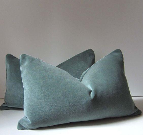 Ocean Blue Decorative Pillows : Set of Two - Ocean Blue - Velvet Pillows - Decorative Pillow Covers - 12 x 22 inch - Pale blue ...
