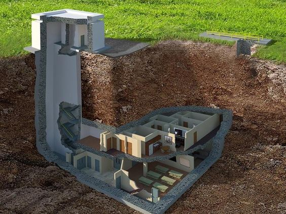 bunker built in 1969 on sale for $17.5M. 12 bedrooms, 12 bathrooms, home theater, etc. #bunkerplans