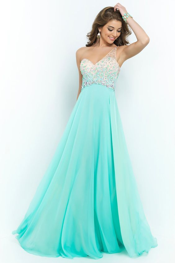 2015 Romantic Prom Dresses A Line One Shoulder With Beadings Tulle And Chiffon Sweep Train