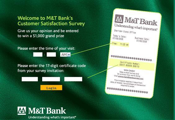 M\T Bank Customer Satisfaction Survey, wwwmandtbanksurvey - customer survey