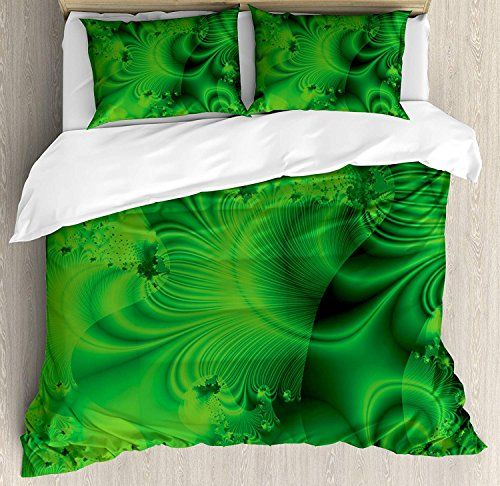 Lime Green Duvet Cover Set Twin Size Vibrant Abstract Hazy Psychedelic Wavy Color Background Hippie Digi Green Duvet Covers Duvet Cover Sets Full Bedding Sets