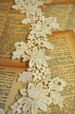 Lace on a Background Board of vintage Dictionary pages