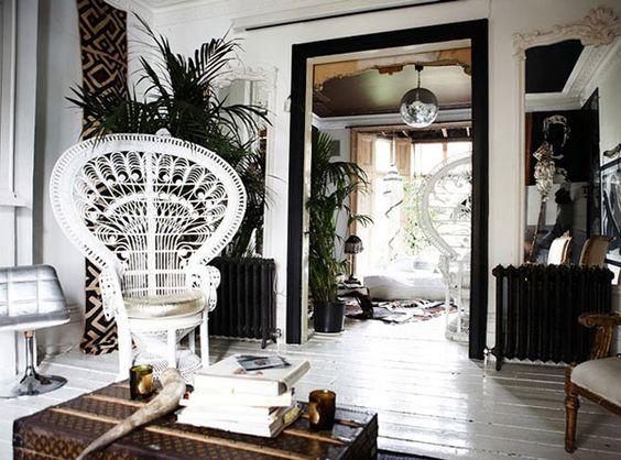 peacock chair, black/white room, disco ball, cowhide, palm, bohemian