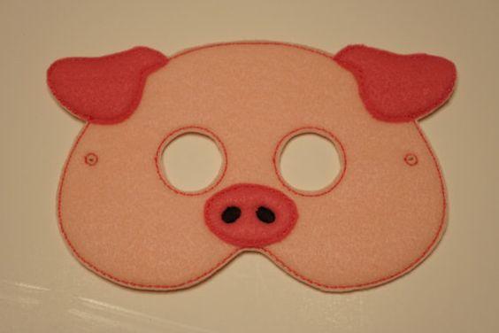 Cute Pig felt embroidered mask by LifeintheFassLane on Etsy