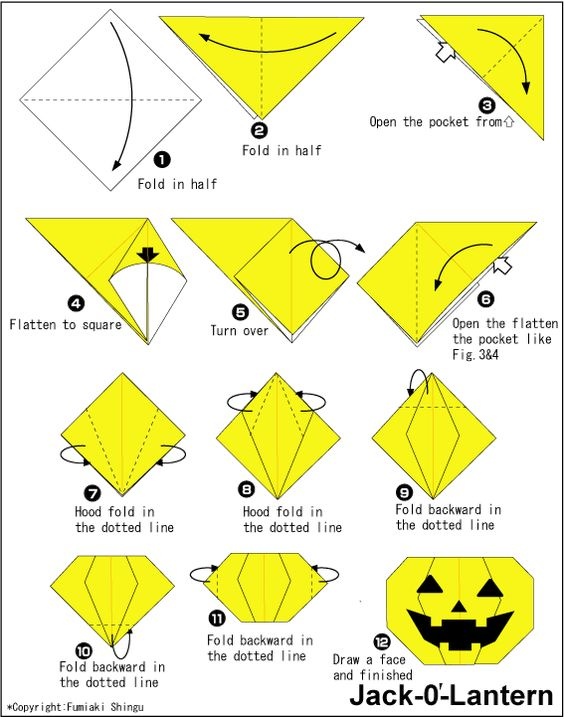 Origami jack o 39 lantern fun for kids to create halloween pinterest - Origami simple enfant ...