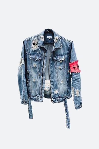 DESIGNER] Destroyed Arm Band Denim Jacket – NVSTUDIO.LA