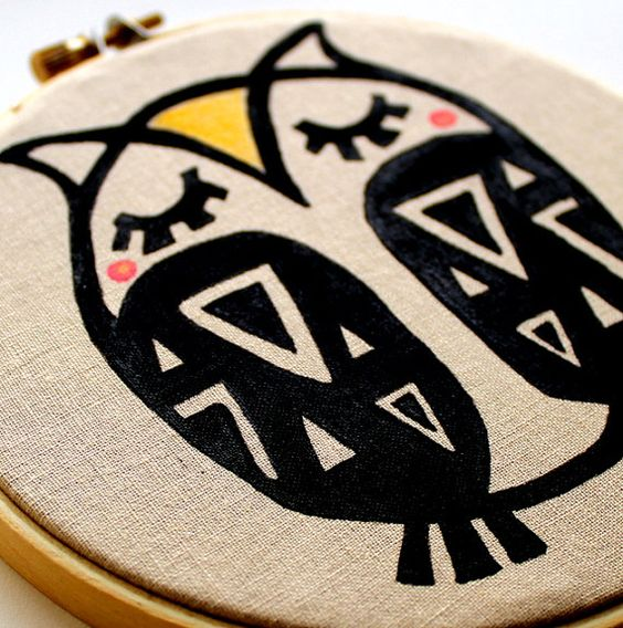 Embroidery Hoop Art - Sleepy Owl - Hoop Art - Silk Screened Original Design - Kids Wall Art - Home Decor - Nursery Art