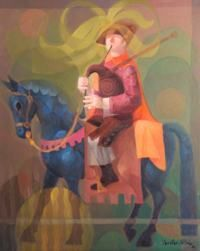 Gaiteiro a caballo, 92 x 73 cm., óleo s/liezo, José González Collado