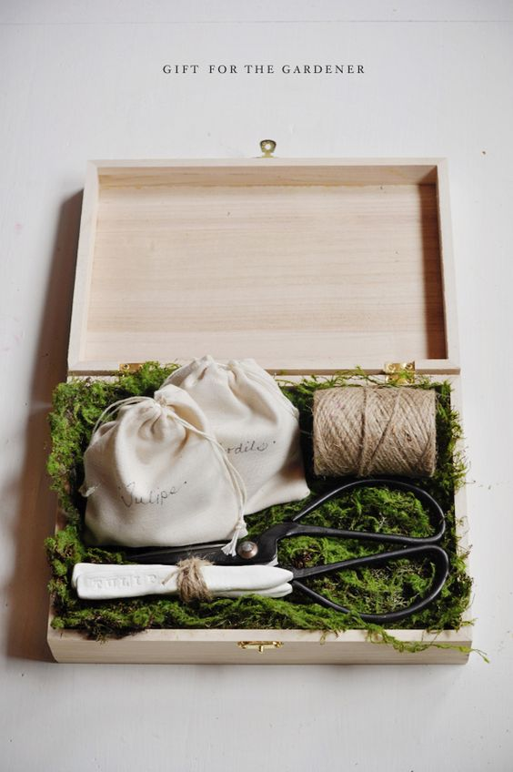 This very stylish box would make a great DIY Christmas gift for a gardener - tulip and daffodil bulbs, gardening scissors and labels