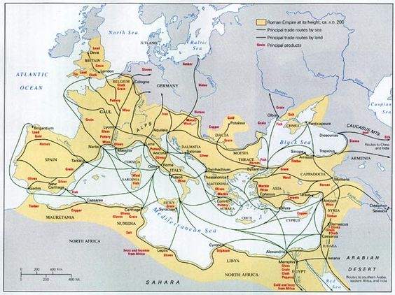Scope of Roman Trade. Great visual for the sheer scope of Rome's reach in the ancient Mediterranean/West European world.
