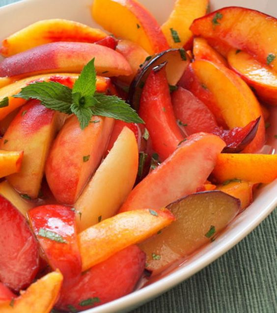 Stone Fruits with Ginger-Lime Syrup and Mint