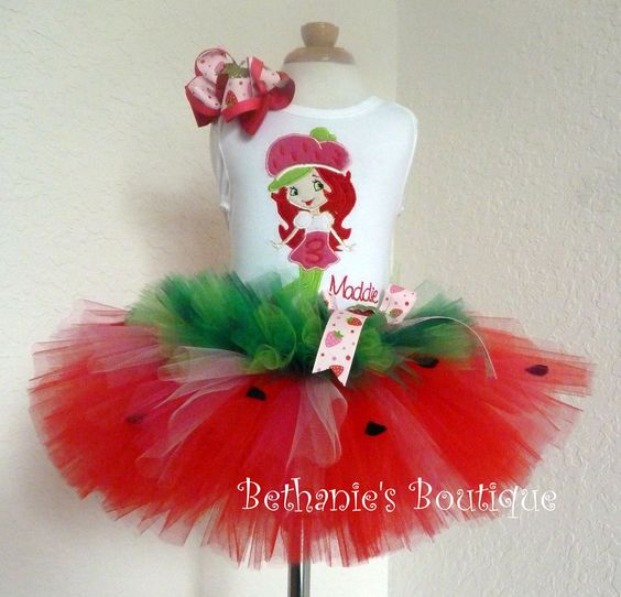 Strawberry Shortcake Tutu Set Perfect for Birthday by TooTuTuCute