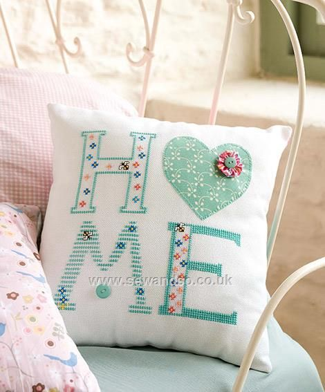 Buy Square Home Cushion Cross Stitch Chart - DOWNLOAD ONLY Online at www.sewandso.co.uk