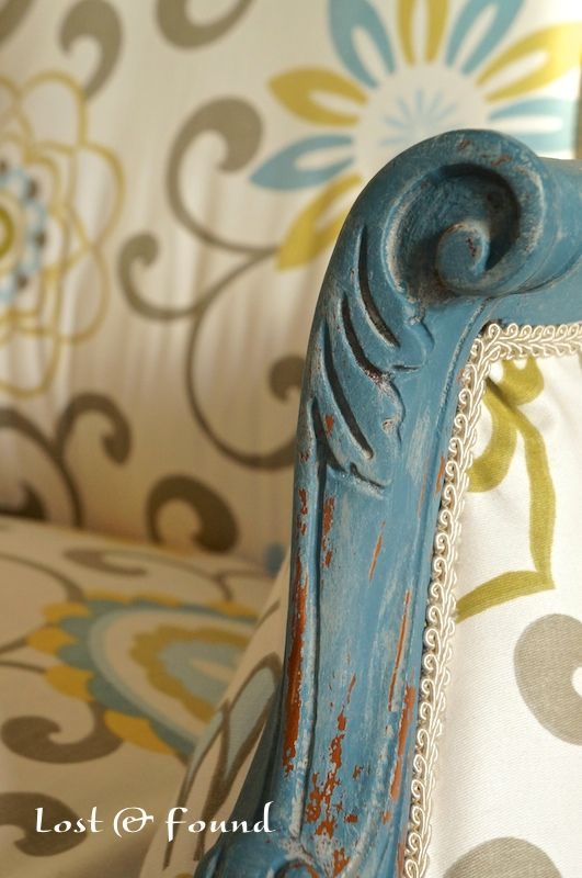 French Chair Makeover Reveal - Lost & Found...you've gotta see the pictures of the process. There is a reason you shouldn't just paint existing fabric on a chair...she shows you a little critter that was inside it.