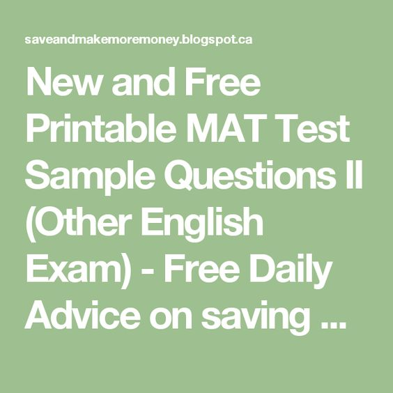 New and Free Printable MAT Test Sample Questions II (Other English ...