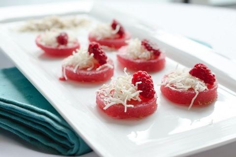 Coconut Raspberry Mojito Jello Shooters from The Endless Meal