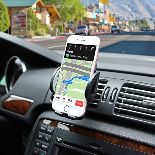Universal Car Mount with Quick Release Button and 360 Degree Rotation Cradle for iPhone X 8 7 6 6S Samsung Galaxy S9 S8 S7 S6 S5 GPS HTC LG Sony Nexus Motorola More Amoner Air Vent Car Phone Holder