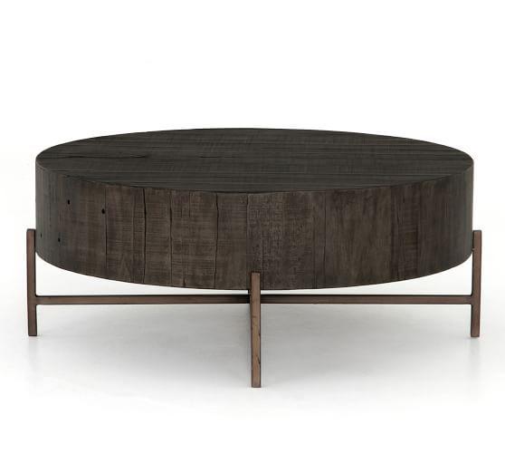 fargo round coffee table distressed