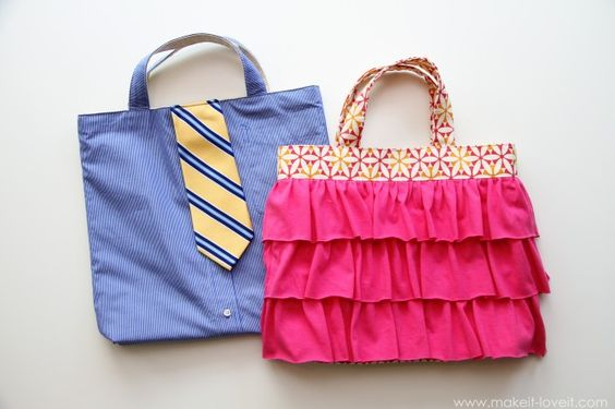 "His and Hers ""church bags,"" as labeled by the upcycler--spectacular ideas!"
