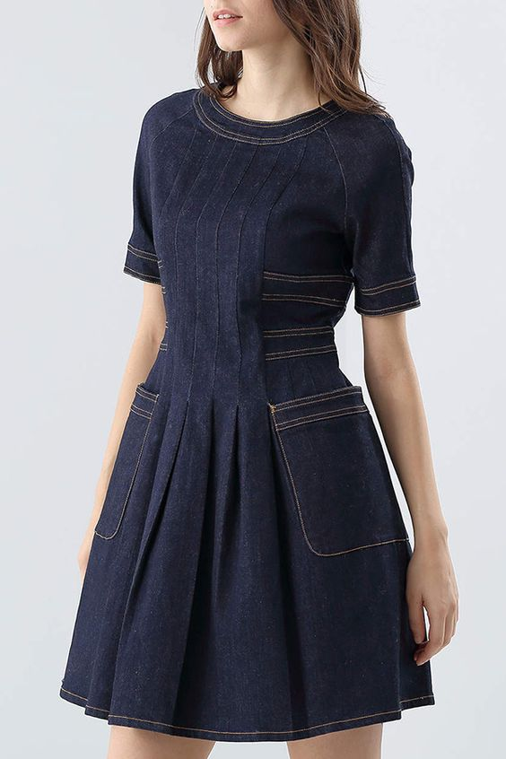 Ruched Flare Denim Dress ==