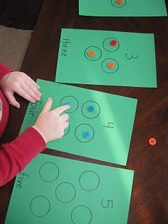 """Excellent way to introduce numeracy! Might be fun to do with finger paints and """"finger count"""" each dot."""