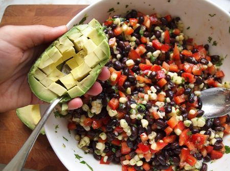 black bean salad with corn, red peppers, avocado, lime-cilantro vinaigrette