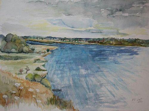 Insel Rügen - Aquarell von Frank Koebsch / Blick auf den Bodden bei Middelhagen