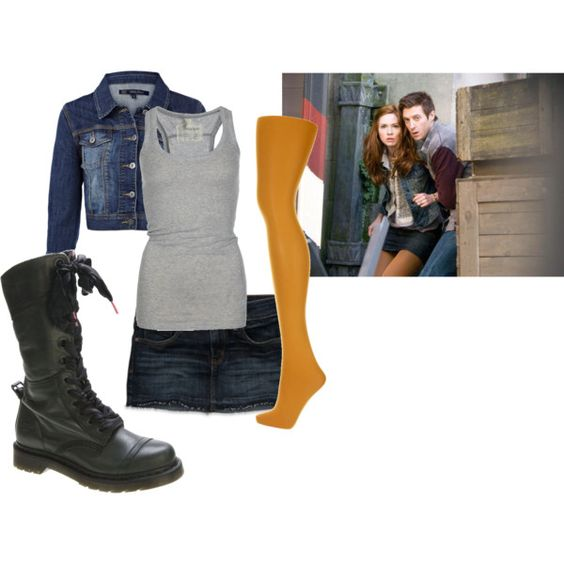 amy pond! boots, tights, skirt, jacket, tank...CHECK!!