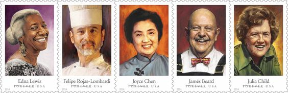"""Julia Child gets her own postage stamp  Julia Child dispatched millions of hungry Americans into the kitchen with a cheery """"bon appetit!"""" The U.S. Postal Service is surely banking on those same fans trooping down to their local post offices to buy the new Julia Child postage stamps.  http://www.chicagotribune.com/lifestyles/food/ct-0922-julia-child-stamp-20140922-story.html"""