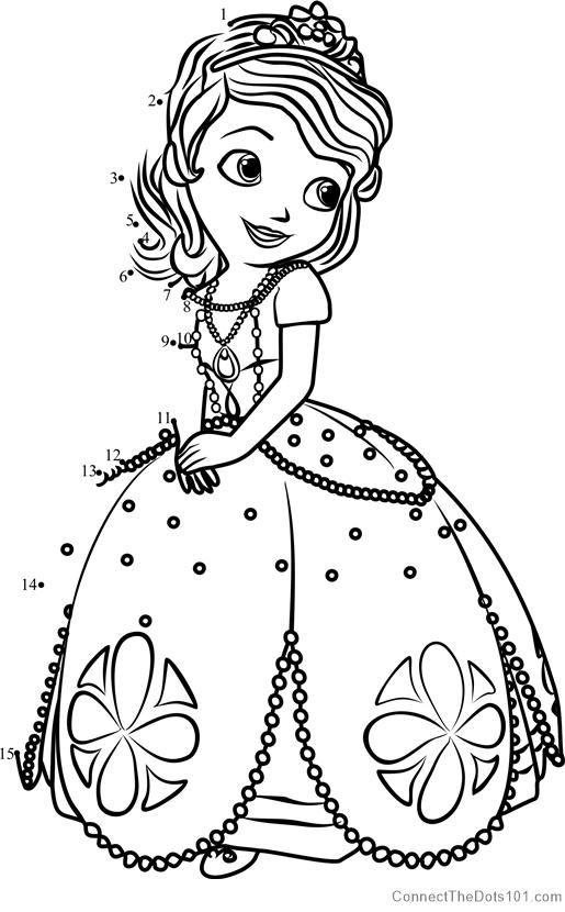 Princess Sofia From Sofia The First Dot To Dot Disney Coloring Pages Princess Coloring Pages Coloring Books