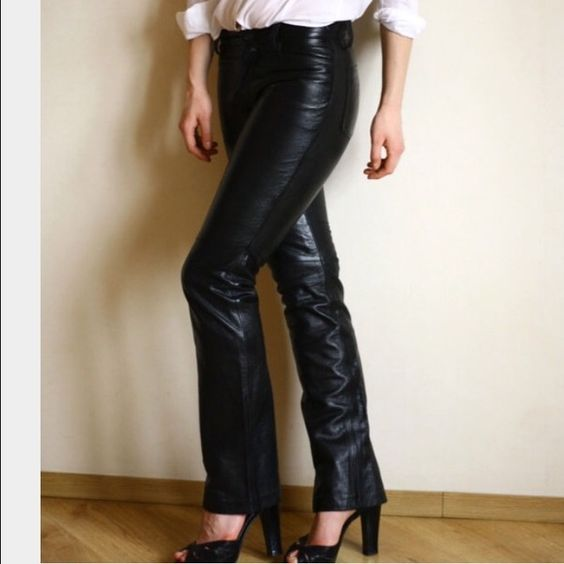 Gap Leather Trouser Pants I've had these leather pants from the Gap for years. They are cut like jeans, so you get all the pockets and the straight leg which is super flattering. They are super cute styled with a white button down shirt and sleek heel! GAP Pants Trousers