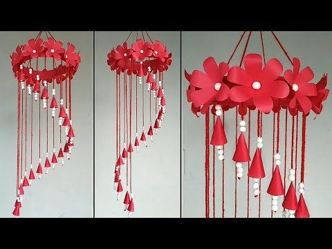 Beautiful Wind Chime Out Of Paper And Thermocol Balls Home Decor Idea Youtube Flower Diy Crafts Diy Wind Chimes Paper Flowers Craft